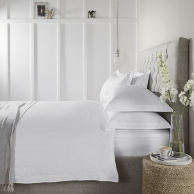 The White Company Malmo Sateen Stripe Duvet Cover, White, Double
