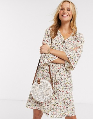 JDY mini shirt dress in cream floral