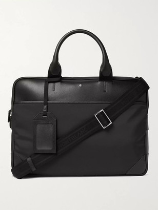 Montblanc Sartorial Jet Large Nylon-Panelled Cross-Grain Leather Briefcase - Men - Black