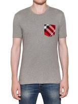 Burberry Checked Pocket Cotton Jersey T-Shirt