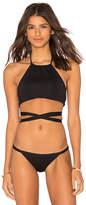 L-Space LSPACE Lizzie Wrap Bikini Top in Black