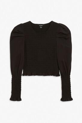 Monki Shirred long sleeve top