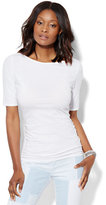 New York & Co. Tee Luxe - Shirred Bateau-Neck Top