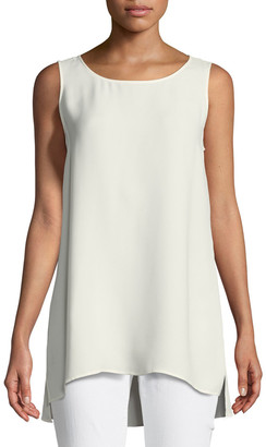 Lafayette 148 New York Ruthie Sleeveless High-Low Hem Silk Blouse