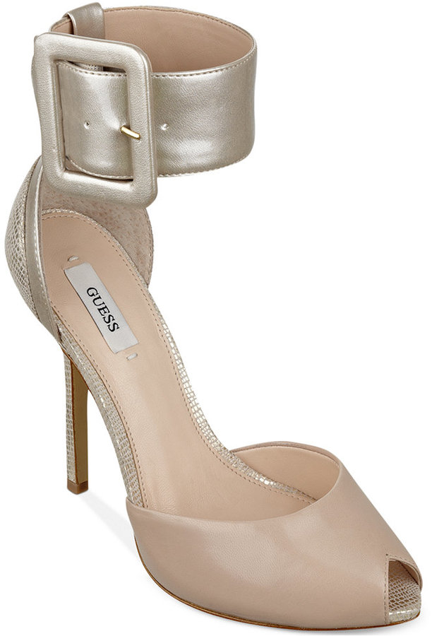 GUESS Women's Remonia Two Piece Ankle Cuff Sandals
