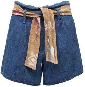Forte Forte Cotton Denim Shorts W/ Belt