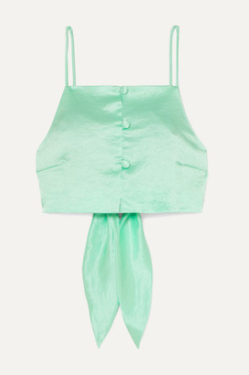 Nanushka Cora Cropped Tie-detailed Hammered-satin Top - Mint