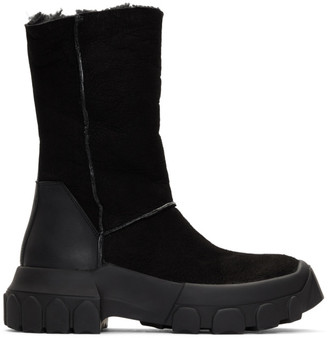 Rick Owens Black Shearling Tractor Boots