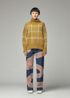 Eckhaus Latta Women's Windowpane Sweater in Lichen Size Small