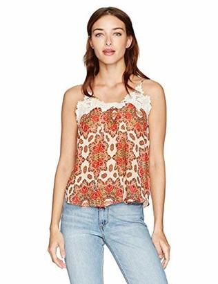Taylor & Sage Women's Daisy Print Crochet Tank Top