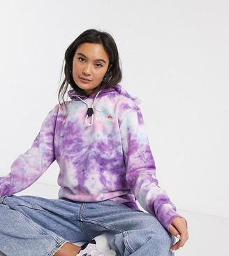 Ellesse oversized tie-dye logo hoodie with drawcord hem
