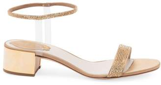 Rene Caovilla Crystal Embellished Block Heel Sandals