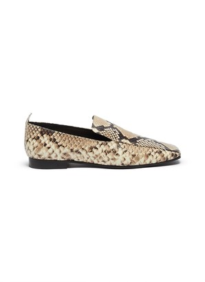 Fabio Rusconi Snake-embossed leather loafers