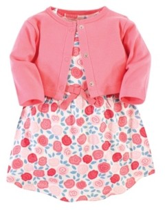 Touched by Nature Organic Cotton Dress and Cardigan Set, Rosebud, 4 Toddler