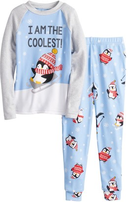 Cuddl Duds Toddler Jammies For Your Families Cool Penguin Top & Bottoms Pajama Set