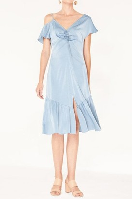 Paisie V-Neck Asymmetric Shoulder Dress with Gathered Detail in Metallic Blue