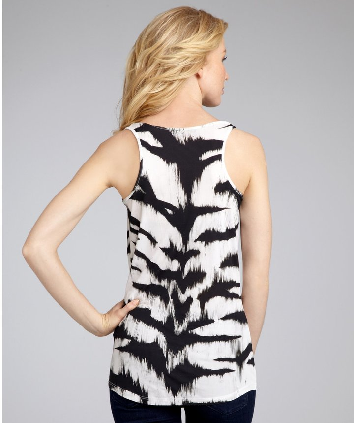 Alexander McQueen Black And White Tiger Striped Cowl Neck Tank