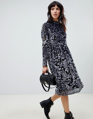 RD & Koko high neck long sleeve dress in jacquard
