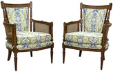 One Kings Lane Vintage Neoclassical Style Side Chairs - Set of 2 - Vintage Bella Home - brown\green