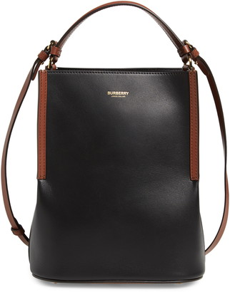 Burberry Small Peggy Two-Tone Leather Bucket Bag