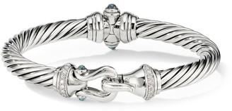 David Yurman Cable Buckle Sterling Silver, Diamond & Hampton Blue Topaz Bracelet