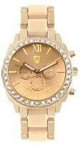 Journee Collection Women's Journee Collection Rhinestone Accented Round Face Polished Link Watch
