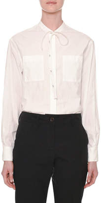 Tomas Maier Long-Sleeve Tie-Neck Button-Front Cotton Shirt