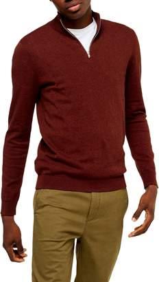 Topman Classic Fit Quarter-Zip Mock Neck Sweater