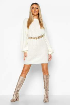 boohoo Crew Neck Fisherman Rib Jumper Dress