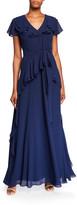 N. Shani V-Neck Ruffle Georgette Flutter-Sleeve Gown