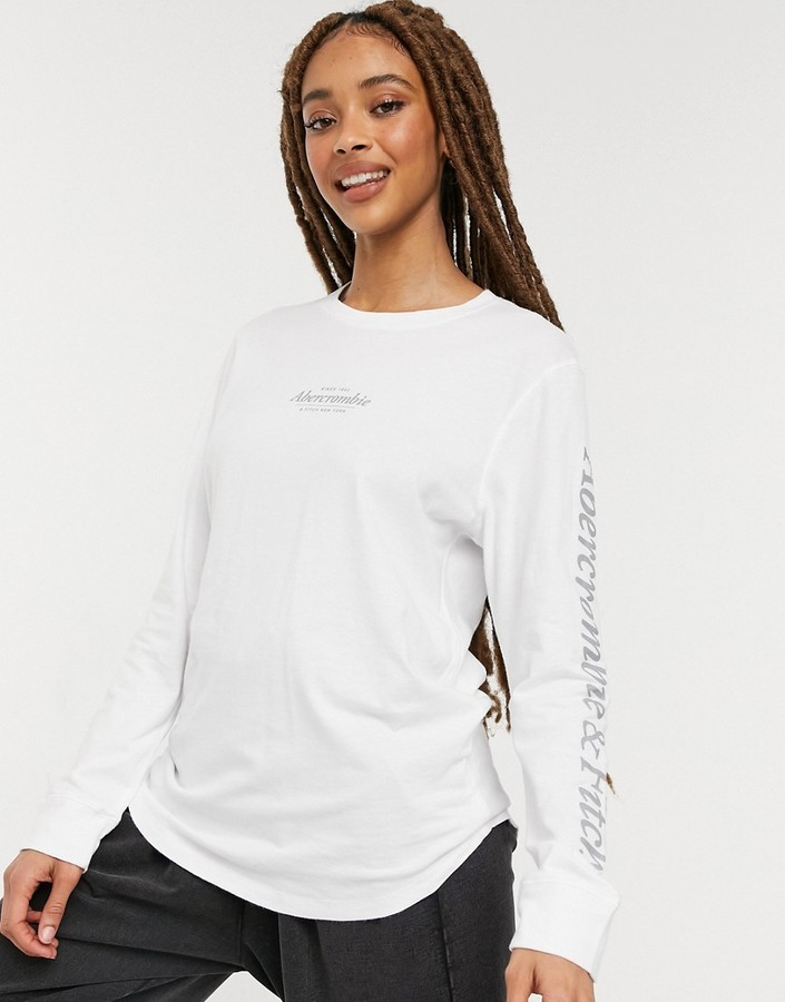 Abercrombie & Fitch logo sleeve crew neck long sleeve t shirt in white