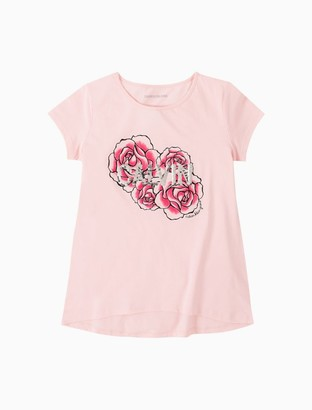 Calvin Klein Big Girls Rose Sequin Flippable Logo Crewneck T-Shirt