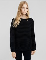 Calvin Klein Collection Cashmere Horizontal Rib Bateau Neck Sweater