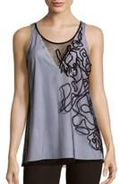 Sachin + Babi Strauss Two-Tone Embroidered Mesh Tank Top