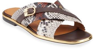 Tory Burch Delaney Snake-Print Crisscross Flat Slide Sandals