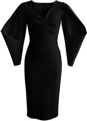 L'momo Box Pleated Sleeve Dress In Black