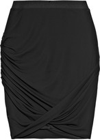 Twisted stretch-crepe pencil skirt