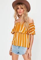 Missguided Orange Striped Frill Bardot Top, Orange