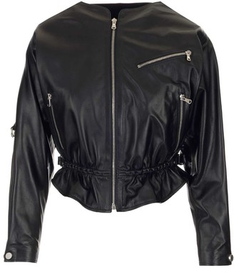 RED Valentino Collarless Leather Jacket