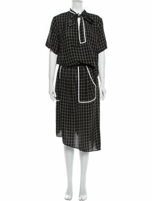 Colovos Plaid Print Long Dress Black