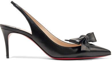 Christian Louboutin Yasiling 70 Bow-embellished Leather Slingback Pumps - Black