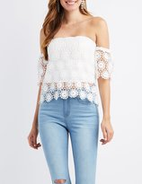 Charlotte Russe Crochet Off-The-Shoulder Skimmer Top