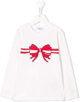 MonnaLisa bow print long-sleeve top