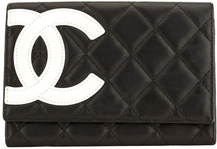 a7b0b8ab Black Quilted Lambskin Cambon Line Bifold Wallet (4083001)