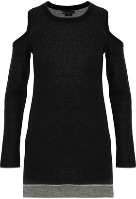 Alice + Olivia Wade Cold-shoulder Marled Wool And Cashmere-blend Sweater
