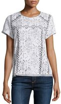 Generation Love Floral Lace Contrast-Embroidered Short-Sleeve Top