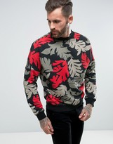 Diesel S-KALB-NB Leaf Print Sweat