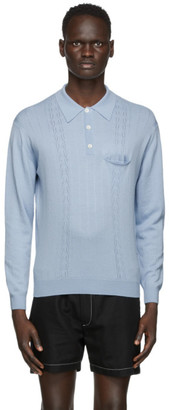 Second/Layer Blue Pointelle Long Sleeve Polo