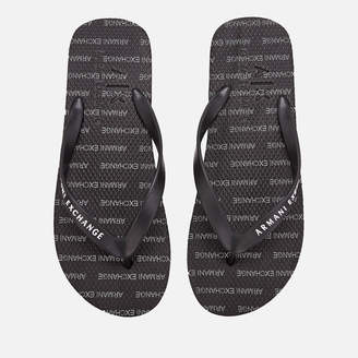 Armani Exchange Men's Printed Flip Flops - Black