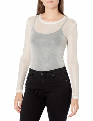 BCBGMAXAZRIA Women's Long Sleeve Mesh Top